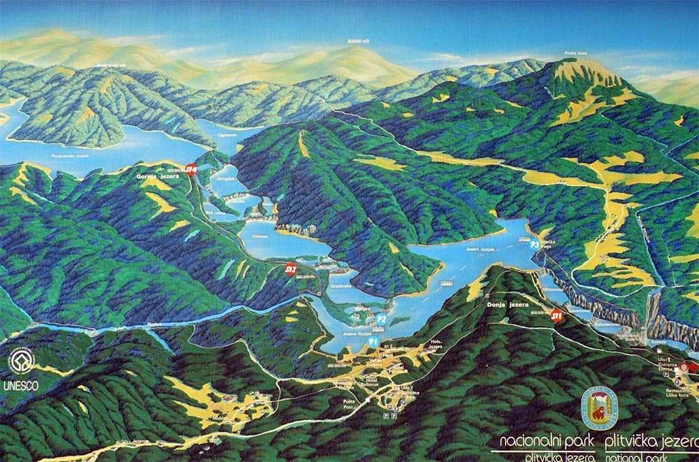 Carte des lacs Plitvice
