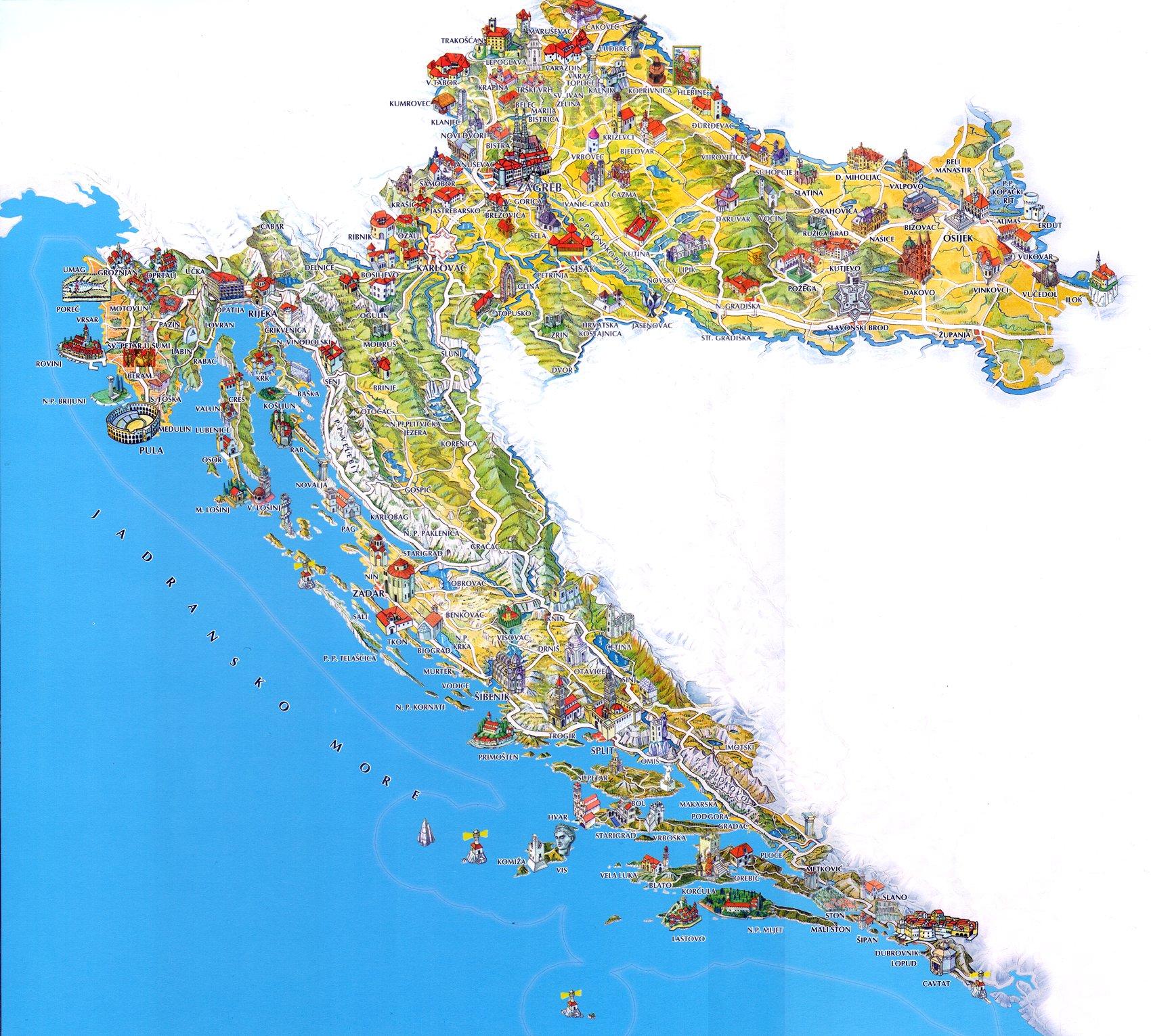 Carte De La Croatie Touristique.Carte De La Croatie Guide Tourisme Croatie